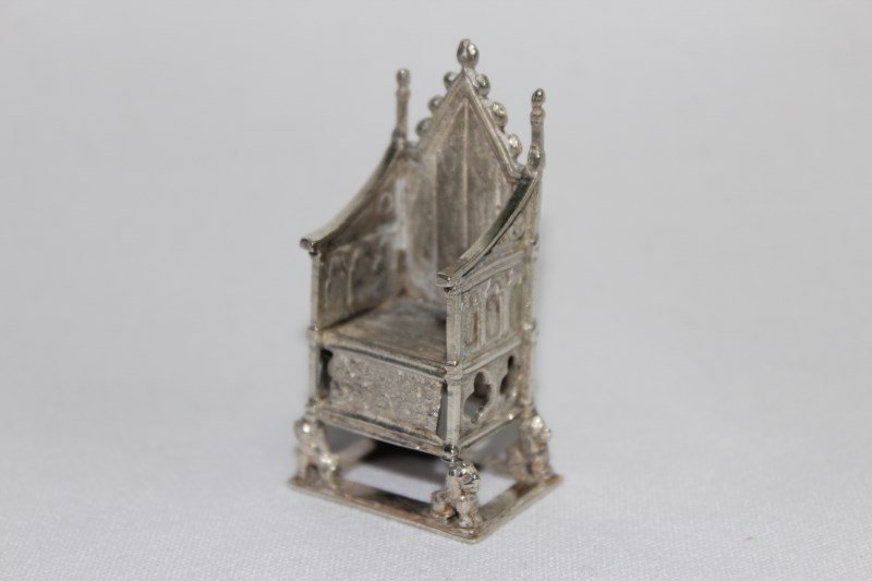 Miniature Sterling Silver Coronation Chair,