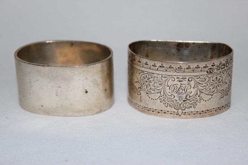 Two English Sterling Silver Napkin Rings,
