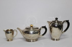Art Deco Sterling Silver Teapot, Coffee Pot And