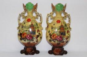 Pair Of German Mantle Vases,