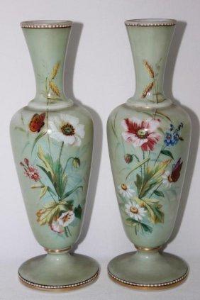Pair Of Victorian Milk Glass Mantle Vases,