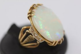 Exceptional Ladies 18ct Gold And Opal Ring,