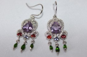 Pair Of Multi Coloured Gemstone Earrings,