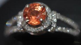 Orange Sapphire And Diamond Ring,