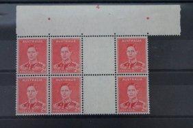 Block Of Six Australian Postage Stamps, 2d,