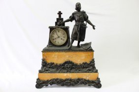 Late 19th Century Bronze And Marble Mantle Clock,