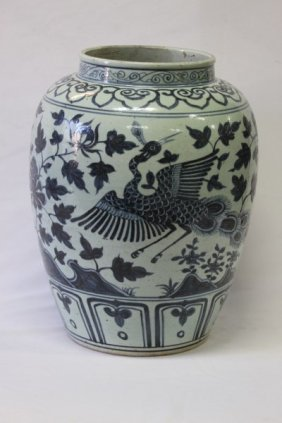 Large Chinese Blue And White Porcelain Jar,