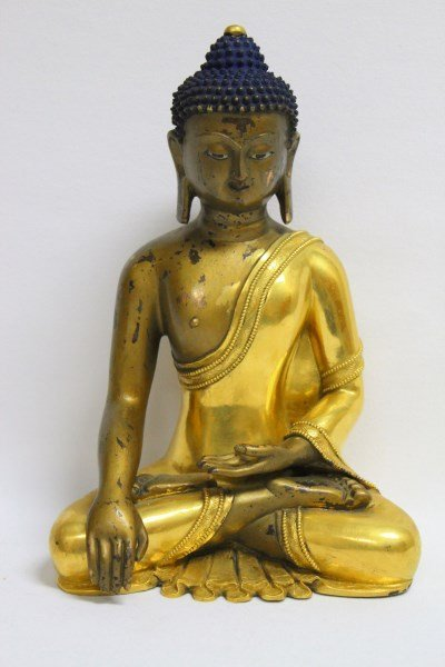 Chinese Gilt Bronze Figure of Sakayamuni,