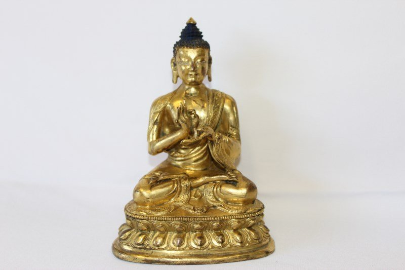 Sino-Tibetan Gilt Bronze Figure of Buddha,