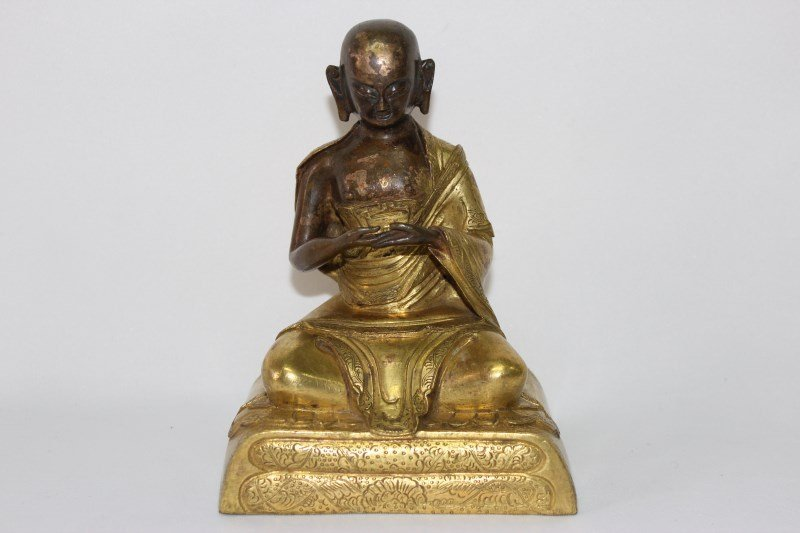 Chinese Gilt Bronze Figure of a Monk,