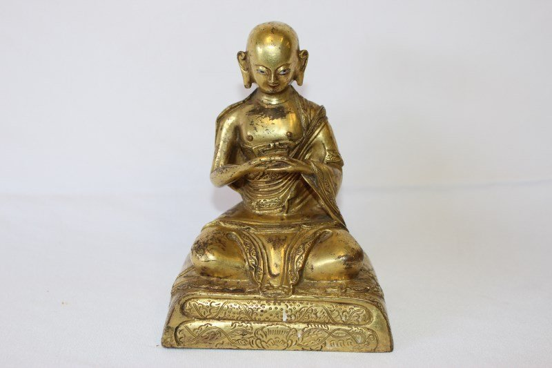 Sino-Tibetan Gilt Bronze Figure of a Monk,