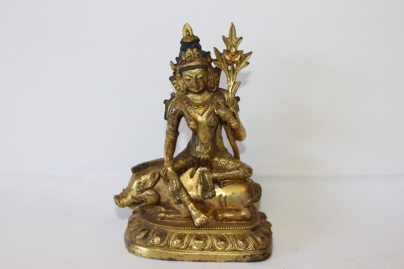 Sino-Tibetan Gilt Bronze Figure of Marici,