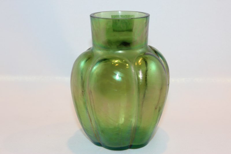Art Nouveau Yellow and Green Lustre Glass Vase,