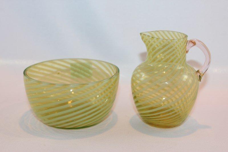 Fine Glass Creamer and Sugar Bowl,