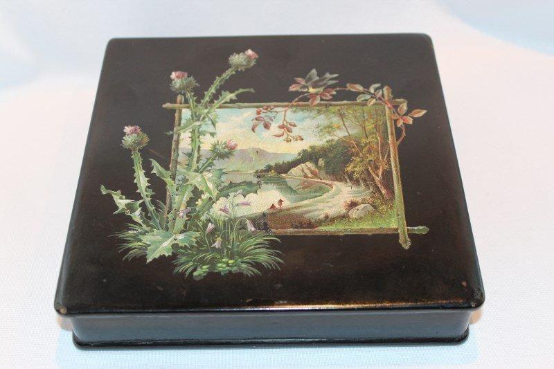 Unusual Scottish Black Lacquer Box and Cover,