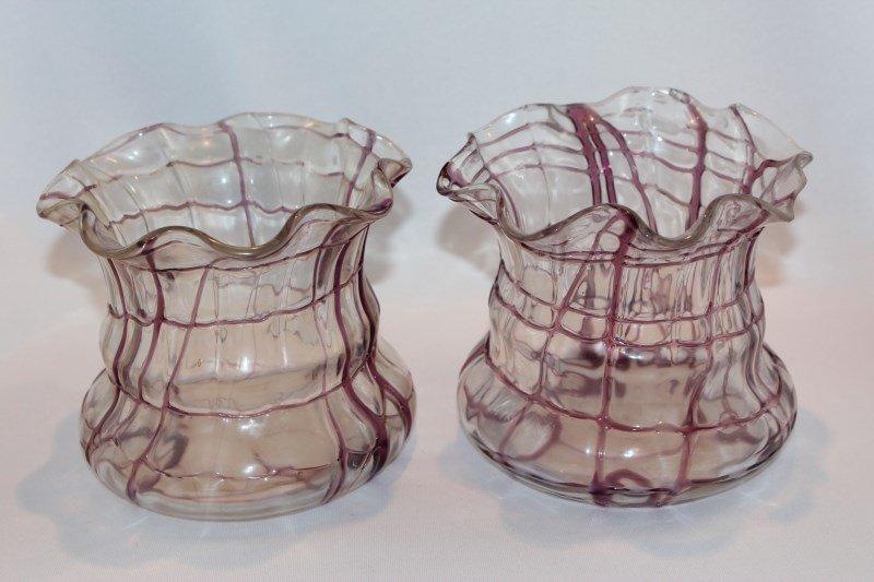 Pair of Victorian Glass Lavender Vases,