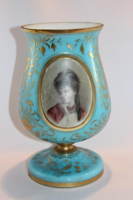 Lovely French Blue and Milk Glass Pedestal Vase,