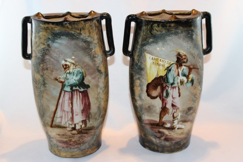 Rare Pair of Galle Porcelain Twin Handled Vase,