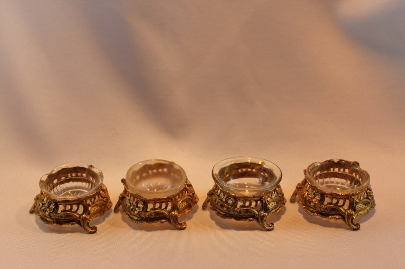 Set of Four French Gilt Salts,