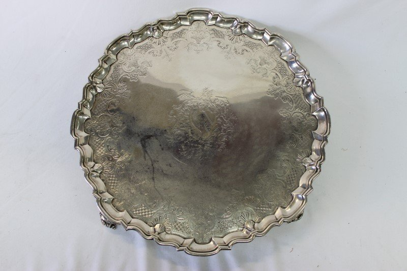 Rare Early George II Sterling Silver Salver,