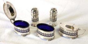 Edwardian Sterling Silver Five Piece Cruet Set,