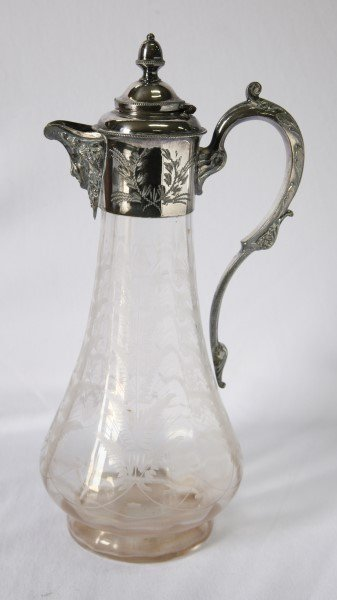 Victorian Etched Crystal and Plate Claret Jug,