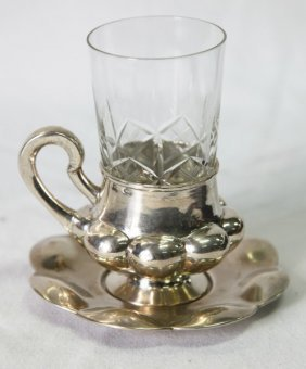 Russian Silver Cup Holder And Saucer,