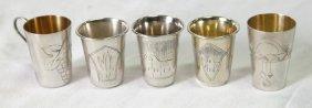 Five Russian Silver Kiddush Cups,