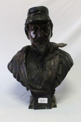 Bronze Bust Sculpture Of A Soldier,