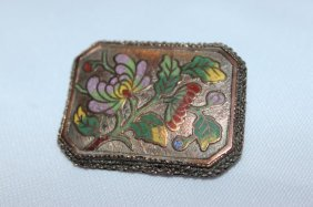 Chinese Rose Gold And Enamel Brooch,