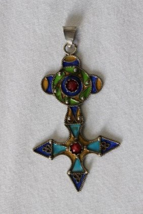 Continental Silver And Enamel Cross Pendant,
