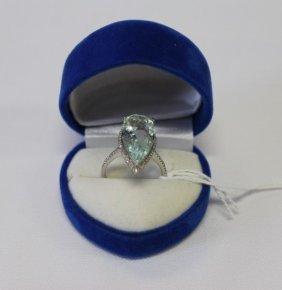 Ladies Aquamarine And Diamond Ring,