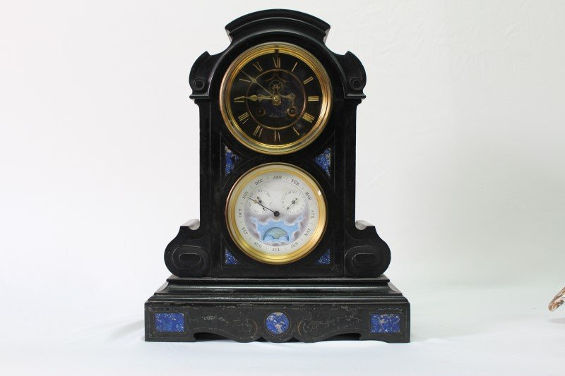 Stunning French Slate and Lapis Mantle Clock,