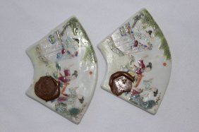 Pair Of Chinese Porcelain Fan Shaped Plaques,