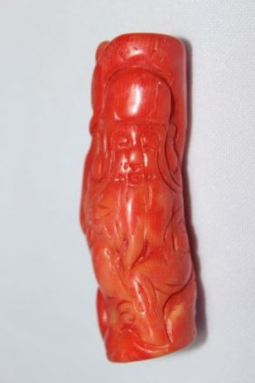 Chinese Carved Coral Figure,