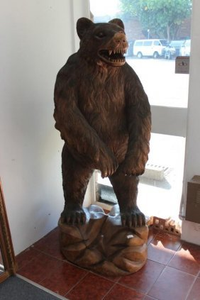 Black Forest Style Carved Wooden Bear,