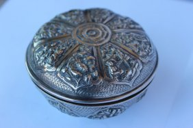 Chinese Silver Box And Cover,