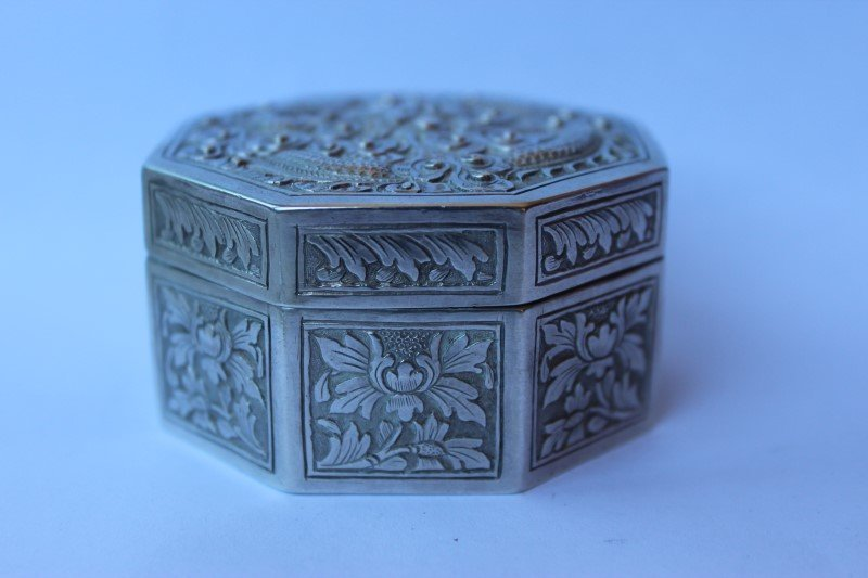 Chinese Silver Octagonal Box and Cover,