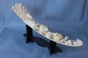 Large Chinese Ivory Naturalistic Carving,
