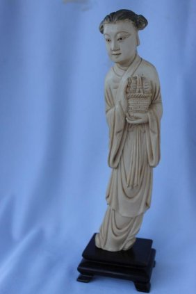 Chinese Qing Dynasty Carved Ivory Figure,