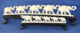 Graduated Pair Of Ivory Elephant Carvings,