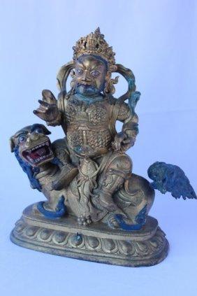 Sino-tibetan Gilt Bronze Figure Of Kubera,