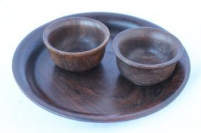 Chinese Turned Wood Tray And Two Cups,