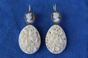 Pair Of Ivory And Cameo Earrings,