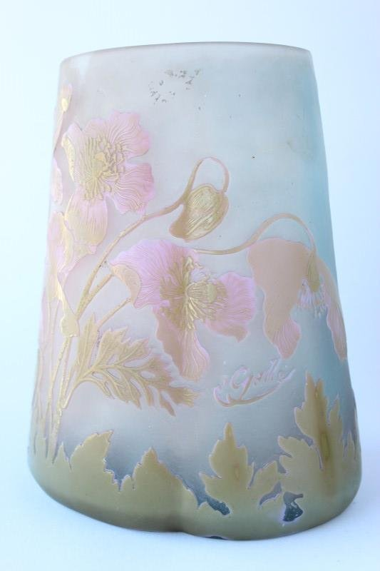 Galle Cameo Glass Vase,