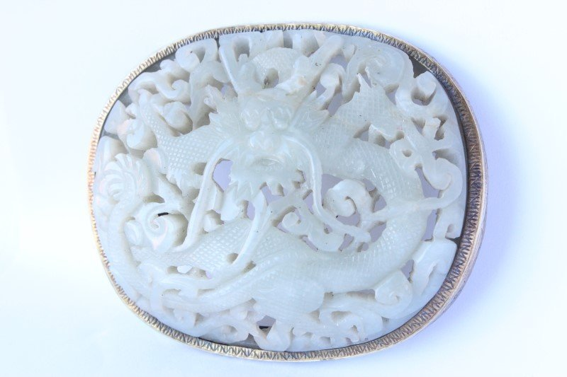 Good Chinese Jade Oval Plaque,