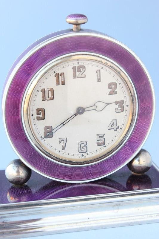 Art Deco Silver and Enamel Bedside Alarm Clock,
