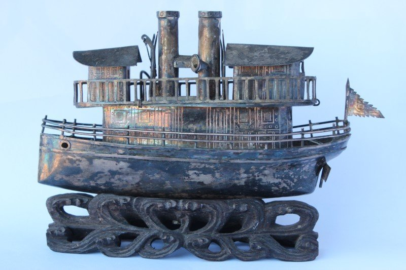 Wonderful Chinese Silver Model Steam Boat,