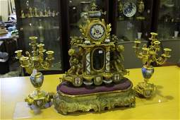 19th Century French Automata Clock Garniture,