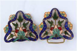 Lovely Gilt and Enamel Two Part Belt Buckle